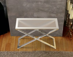 CONSOLE TABLE ALEXA CRYSTAL ACID ETCHED POLISHED STAINLESS STEEL 100x38x72 CM (ST017RA)