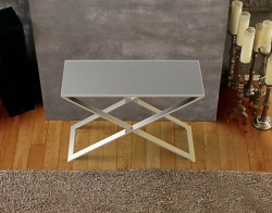 CONSOLE TABLE ALEXA GREY ACID ETCHED BRUSHED STAINLESS STEEL 100x38x72 CM (ST018LGA)