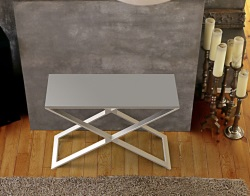 CONSOLE TABLE ALEXA LACQUERED GREY BRUSHED STAINLESS STEEL 100x38x72 CM (ST018LG)