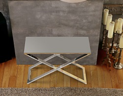CONSOLE TABLE ALEXA LACQUERED GREY POLISHED STAINLESS STEEL 100x38x72 CM (ST017LG)