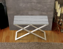 CONSOLE TABLE ALEXA MARBLE CERAMICS BRUSHED STAINLESS STEEL 100x38x72 CM (ST018CM)