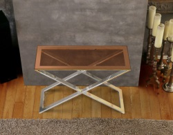 CONSOLE TABLE ALEXA SEPIA POLISHED STAINLESS STEEL 100x38x72 CM (ST017P)
