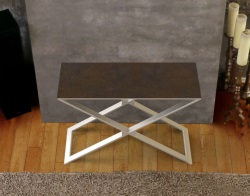 CONSOLE TABLE ALEXA STEEL CERAMICS BRUSHED STAINLESS STEEL 100x38x72 CM (ST018SD)