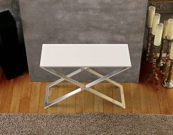 CONSOLE TABLE ALEXA WHITE ACID ETCHED BRUSHED STAINLESS STEEL 100x38x72 CM (ST018LWA)