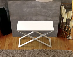 CONSOLE TABLE ALEXA WHITE LACQUERED BRUSHED STAINLESS STEEL 100x38x72 CM (ST018LW)
