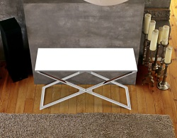 CONSOLE TABLE ALEXA WHITE LACQUERED POLISHED STAINLESS STEEL 120x41x72 CM (ST008LW)
