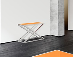CONSOLE TABLE AMARA LACQUERED ORANGE POLISHED STAINLESS STEEL 106x44x70 CM (ST016LO)