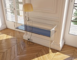 CONSOLE TABLE AURORA AVEC TABLETTE BLUE TINTED HOT BENT GLASS 103x39x75 CM (ST003B)