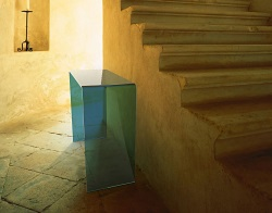 CONSOLE TABLE AURORA BLUE TINTED HOT BENT GLASS 90x36x75 CM (ST011B)