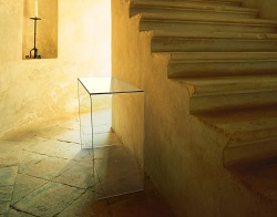 CONSOLE TABLE AURORA CLEAR HOT BENT GLASS 90x36x75 CM (ST009)
