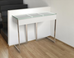 CONSOLE TABLE CONDUCTION TIROIR CLEAR POLISHED STAINLESS STEEL 95x36x75 CM (ST015C)