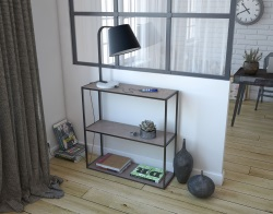 CONSOLE TABLE JULIA PETITE CONSOLE ARGILE CERAMICS BLACK EPOXY PAINTED STEEL 90*30*90 cm (SH006AR)