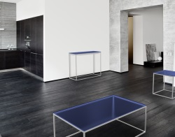 CONSOLE TABLE JULIA BLUE TINTED BRUSHED STAINLESS STEEL 100x38x80 CM (ST182B)