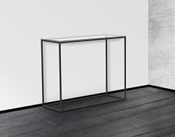 CONSOLE TABLE JULIA CLEAR BLACK EPOXY PAINTED STEEL 100x38x80 CM (ST180C)
