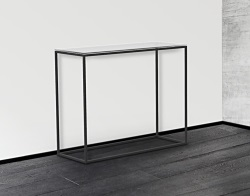 CONSOLE TABLE JULIA CRYSTAL ACID ETCHED BLACK EPOXY PAINTED STEEL 100x38x80 CM (ST180RA)