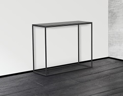 CONSOLE TABLE JULIA LACQUERED BLACK BLACK EPOXY PAINTED STEEL 100x38x80 CM (ST180LB)