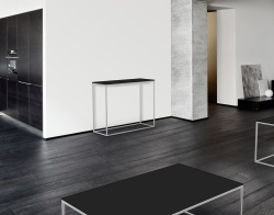 CONSOLE TABLE JULIA LACQUERED BLACK BRUSHED STAINLESS STEEL 100x38x80 CM (ST182LB)