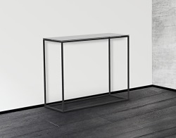 CONSOLE TABLE JULIA LACQUERED GREY BLACK EPOXY PAINTED STEEL 100x38x80 CM (ST180LG)