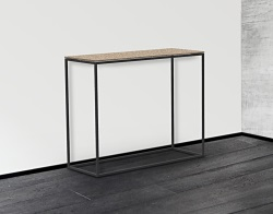 CONSOLE TABLE JULIA SANDSTONE BROWN BLACK EPOXY PAINTED STEEL 100x38x80 CM (ST180GB)