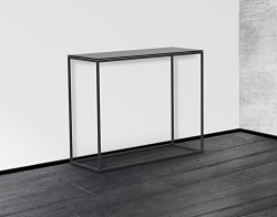 CONSOLE TABLE JULIA TINTED GREY BLACK EPOXY PAINTED STEEL 100x38x80 CM (ST180G)