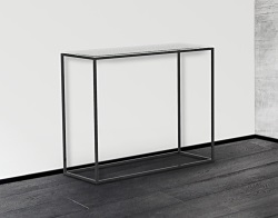 CONSOLE TABLE JULIA WHITE ACID ETCHED BLACK EPOXY PAINTED STEEL 100x38x80 CM (ST180LWA)