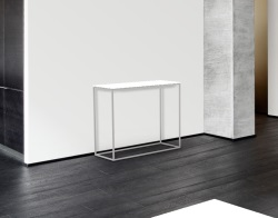 CONSOLE TABLE JULIA WHITE LACQUERED BRUSHED STAINLESS STEEL 100x38x80 CM (ST182LW)
