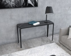 CONSOLE TABLE SUMATRA BLACK MARBLE BLACK LACQUERED STEEL 120 x 35 x H75 CM (ST800BM)