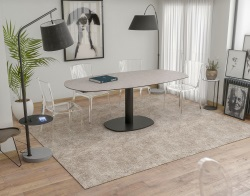 DINING TABLE ARTICA BASE ACIER LAQUÉ ARGILE CERAMICS BLACK LACQUERED STEEL 130/200x100x76 CM (DT032AR)