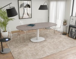 DINING TABLE ARTICA BASE ACIER LAQUÉ ARGILE CERAMICS WHITE LACQUERED STEEL 130/200x100x76 CM (DT034AR)