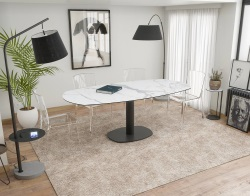 DINING TABLE ARTICA BASE ACIER LAQUÉ MAT MARBLE CERAMICS BLACK LACQUERED STEEL 130/200x100x76 CM (DT032MA)