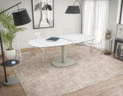 DINING TABLE ARTICA BASE ACIER LAQUÉ MAT MARBLE CERAMICS FLINT GREY LACQUERED STEEL 130/200x100x76 CM (DT030MA)