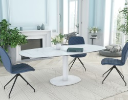 DINING TABLE ARTICA BASE ACIER LAQUÉ MAT MARBLE CERAMICS WHITE LACQUERED STEEL 130/200x100x76 CM (DT034MA)