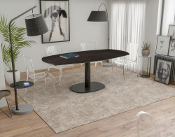 DINING TABLE ARTICA BASE ACIER LAQUÉ STEEL CERAMICS BLACK LACQUERED STEEL 130/200x100x76 CM (DT032SD)