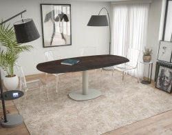 DINING TABLE ARTICA BASE ACIER LAQUÉ STEEL CERAMICS FLINT GREY LACQUERED STEEL 130/200x100x76 CM (DT030SD)