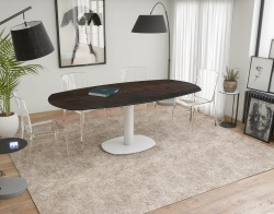 DINING TABLE ARTICA BASE ACIER LAQUÉ STEEL CERAMICS WHITE LACQUERED STEEL 130/200x100x76 CM (DT034SD)