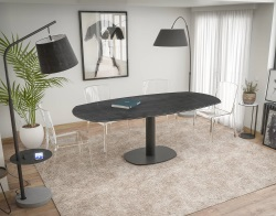 DINING TABLE ARTICA BASE ACIER LAQUÉ TITANIUM CERAMICS BLACK LACQUERED STEEL 130/200x100x76 CM (DT032TI)