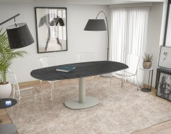 DINING TABLE ARTICA BASE ACIER LAQUÉ TITANIUM CERAMICS FLINT GREY LACQUERED STEEL 130/200x100x76 CM (DT030TI)