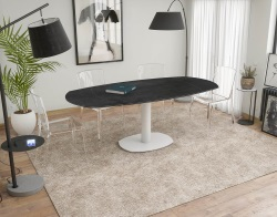 DINING TABLE ARTICA BASE ACIER LAQUÉ TITANIUM CERAMICS WHITE LACQUERED STEEL 130/200x100x76 CM (DT034TI)