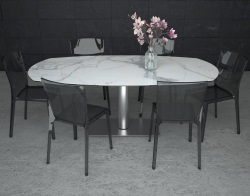 DINING TABLE ARTICA BASE INOX MAT MARBLE CERAMICS BRUSHED STAINLESS STEEL 130/200x100x76 CM (DT021MA)