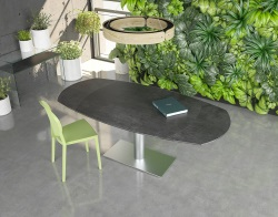 DINING TABLE ARTICA BASE INOX TITANIUM CERAMICS BRUSHED STAINLESS STEEL 130/200x100x76 CM (DT021TI)