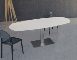 DINING TABLE ARTICA BASE INOX WHITE ACID ETCHED BRUSHED STAINLESS STEEL 130/200x100x76 CM (DT021LWA)