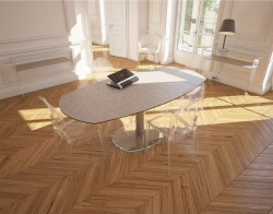 DINING TABLE ARTICA BASE VERRE ARGILE CERAMICS BRUSHED STAINLESS STEEL 130/200x100x76 CM (DT020AR)