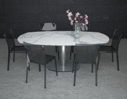 DINING TABLE ARTICA BASE VERRE MAT MARBLE CERAMICS BRUSHED STAINLESS STEEL 130/200x100x76 CM (DT020MA)