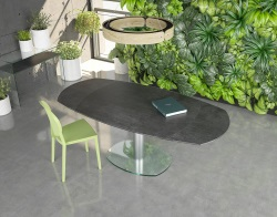 DINING TABLE ARTICA BASE VERRE TITANIUM CERAMICS BRUSHED STAINLESS STEEL 130/200x100x76 CM (DT020TI)