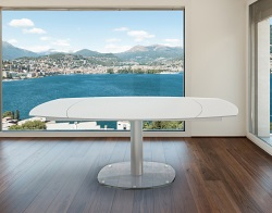 DINING TABLE ARTICA BASE VERRE WHITE ACID ETCHED BRUSHED STAINLESS STEEL 130/200x100x76 CM (DT020LWA)