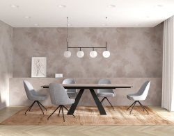 DINING TABLE ASCENSION ARGILE CERAMICS BLACK LACQUERED STEEL 150/230x100x76 CM (DT105AR)