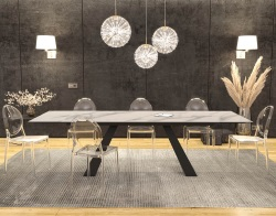 DINING TABLE ASCENSION MAT MARBLE CERAMICS BLACK LACQUERED STEEL 190/270x100x76 CM (DT100MA)