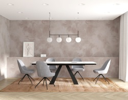DINING TABLE ASCENSION MAT MARBLE CERAMICS BLACK LACQUERED STEEL 150/230x100x76 CM (DT105MA)