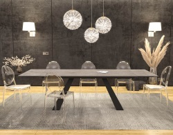 DINING TABLE ASCENSION SILVER CERAMICS BLACK LACQUERED STEEL 190/270x100x76 CM (DT100SI)