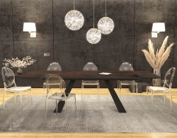 DINING TABLE ASCENSION STEEL CERAMICS BLACK LACQUERED STEEL 190/270x100x76 CM (DT100SD)